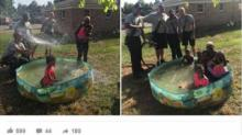 IMAGE: Firefighters step in after spotting family trying to fill up pool by using pots from the sink