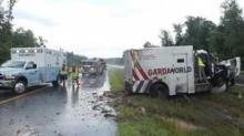 IMAGE: Two injured when armored car overturns in Moore County