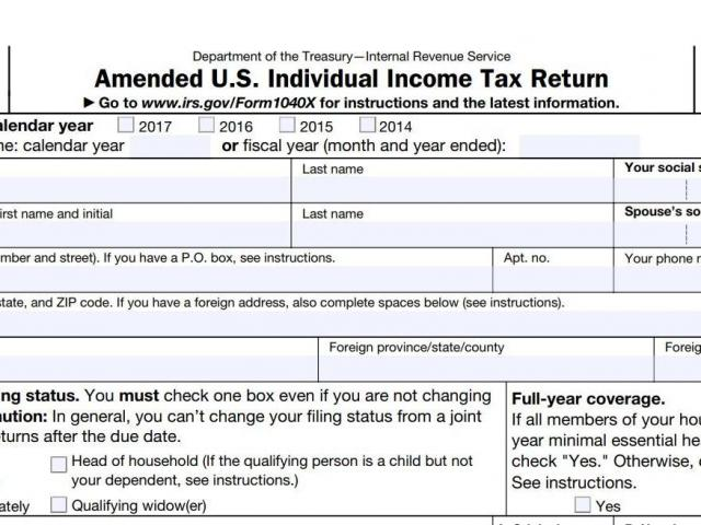 Form 1040  Screenshot from the Department of Treasury Internal