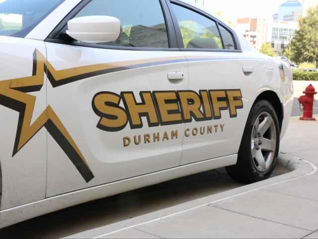 Empty police car from Durham County Sheriff's department outside of the Durham County Detention Facility. Photo taken August 17, 2018. <br/>Photographer: Maggie Brown