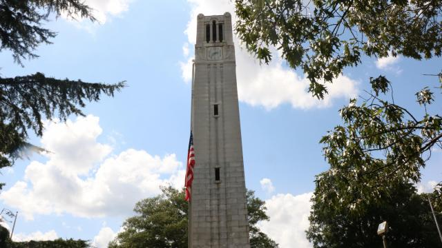 The North Carolina State University (NSCU) Bell Tower on Hillsborough Street. Photo taken August 17, 2018.