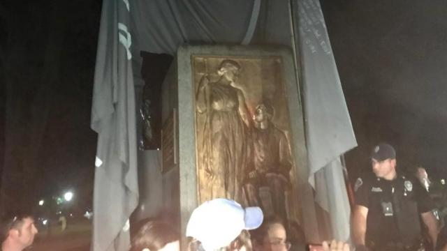 """Protesters toppled the controversial """"Silent Sam"""" statue on the campus of the University of North Carolina at Chapel Hill."""
