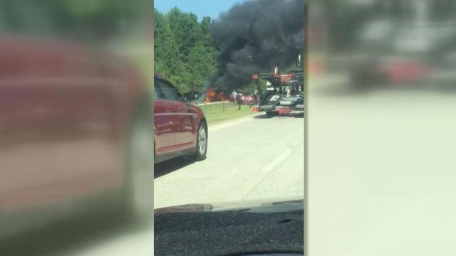 Viewer video: Fiery crash closes I-40 east :: WRAL com