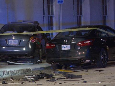 7 injured in crash involving 2 cars, pedestrians in downtown