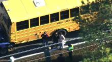 IMAGES: Truck rear-ends school bus in Wake Forest