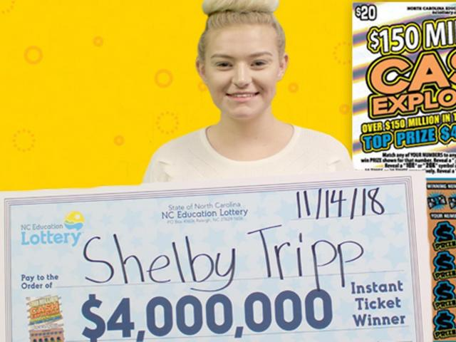 Shelby Tripp claims her $4 million lottery prize on Nov. 14, 2018. (Photo courtesy of North Carolina Education Lottery)