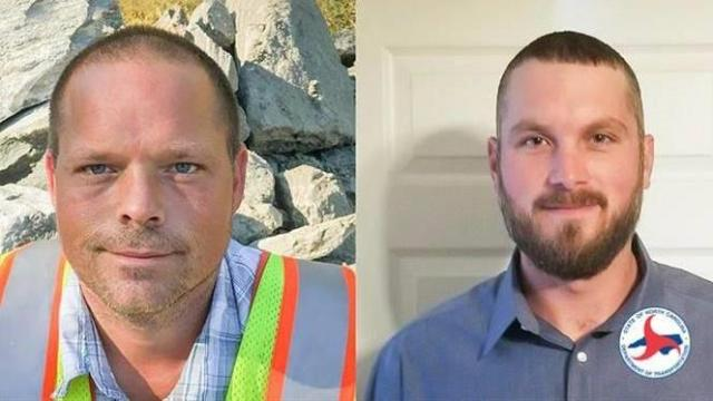 Timmy Horne, left, and Steven Lane helped save a man having a heart attack on the side of Interstate 795. Photo courtesy N.C. DOT.