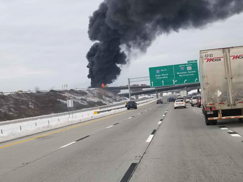 Fiery tanker crash sends thick smoke over I-85 in Greensboro