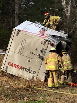 Overturned armor truck