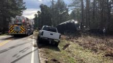 IMAGES: Wake Forest road reopens after armored truck overturns