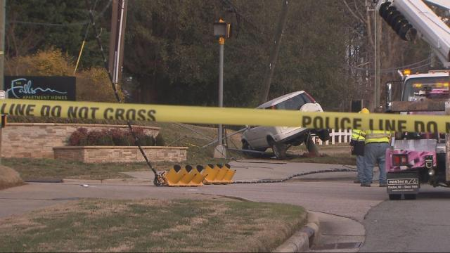 Duraleigh Road closed near Glenwood Avenue after car strikes power pole