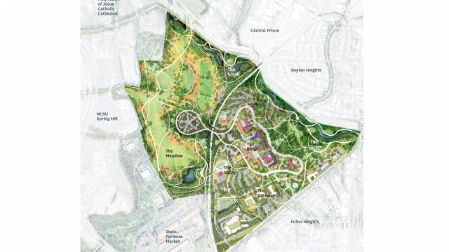 The master plan for Dorothea Dix Park calls for developing six primary areas with a mix of natural elements and amenities.