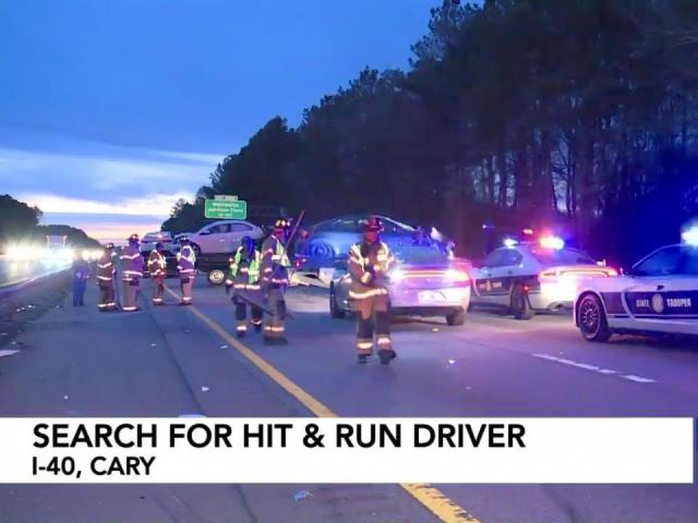 Law enforcement officers were looking for a driver involved in a hit-and-run accident that was part of a five-car crash Saturday morning.