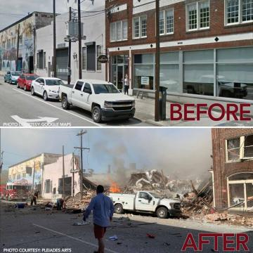Durham explosion: Before and after