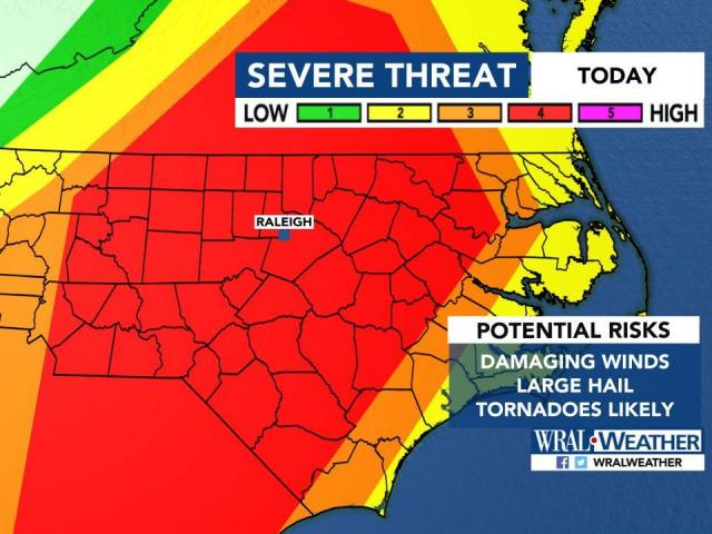 The Latest: Tornado warning issued for Bladen, Chatham, Lee, Moore, Sampson and Wayne counties