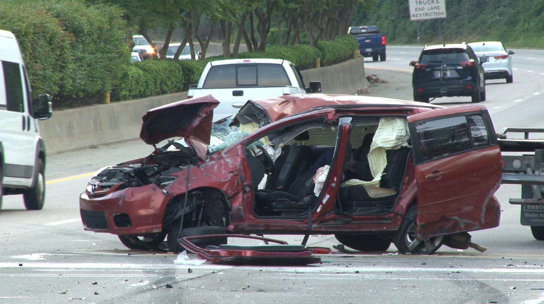 1 seriously injured after car flips over on I-440 :: WRAL com