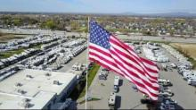 IMAGE: Statesville business will keep massive American flag after city council vote