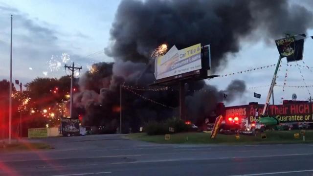 Raw: Fireworks containers spark huge blaze :: WRAL com