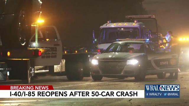 More than 40 cars caught up in crash at I-40, I-85
