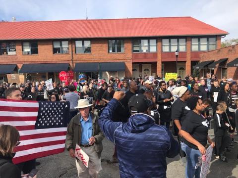 Protesters gather near Pittsboro Confederate monument