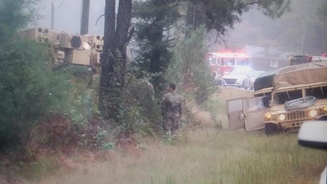 Two injured when Fort Bragg vehicle overturns in heavy rain
