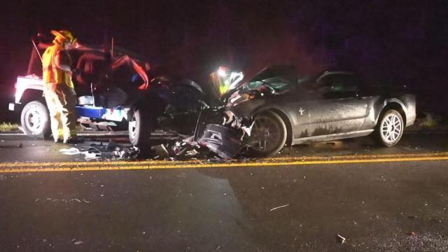 Two hurt in head-on crash on Creedmoor Road