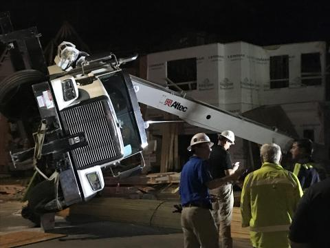 Crane overturns at construction site in Cary