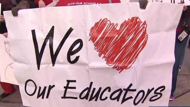 Wednesday's teacher rally in downtown Raleigh