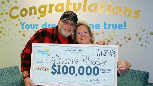 Catherine Rhoden and boyfriend Bill Dampman won $100,000 on the Nov. 20, 2019, Powerball game.