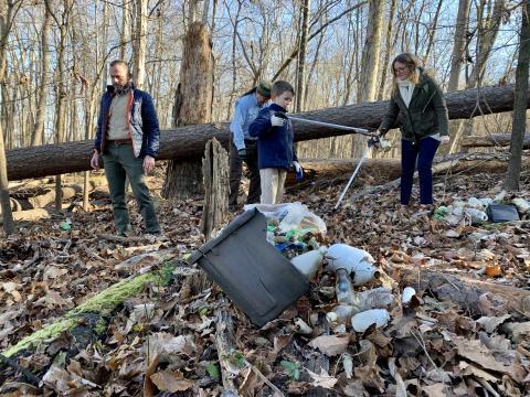 Volunteers help clean up litter at Falls Lake