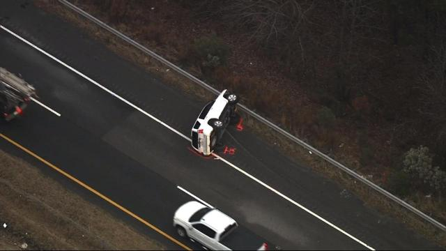 Overturned SUV slows traffic on US-1 in Apex