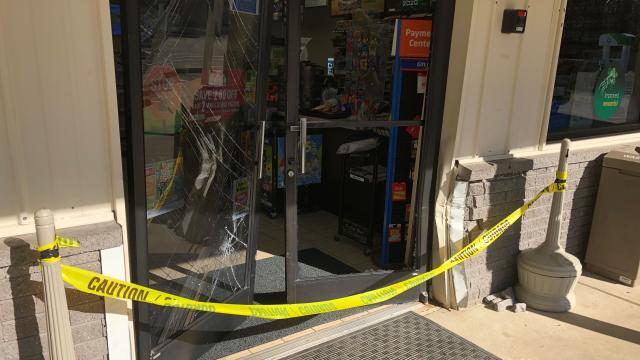 Smash and grab on at Handy Hugo on Buffaloe Road