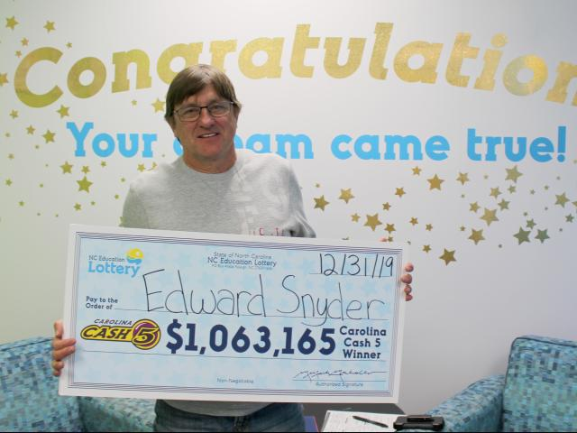 Edward Snyder bought the Cash 5 ticket at the Food Lion on Shearer Road in Mooresville. His ticket matched all five numbers in Sunday night's drawing.
