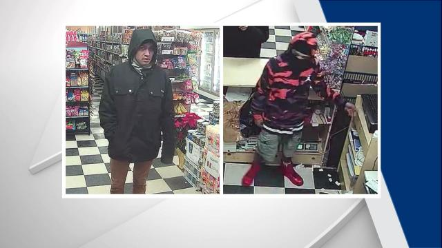 Two men were caught on camera robbing a store in Cary.