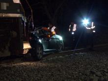 Car hit by train in Cary