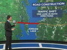 Road construction to make repairs to bridges over Jordan Lake