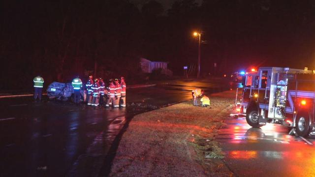 Car crashes on wet roads in north Raleigh, driver critically injured
