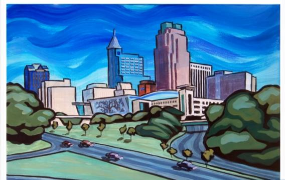 City of Raleigh skyline art by Tommy Midyette