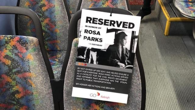 GoRaleigh bus reserves seat for Rosa Parks