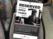 Rosa Parks reserved seat on Raleigh bus