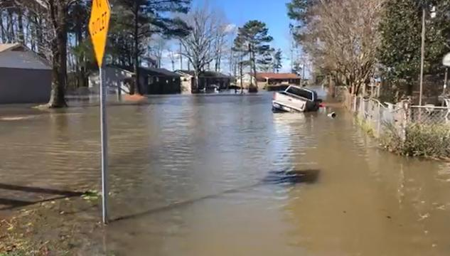 Truck caught in flood in Fayetteville