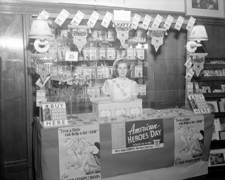 A McClellan's employee surrounded by vintage ads. Image courtesy of the State Archives of North Carolina.