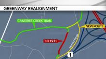 IMAGES: City officials working to find answer to closed Crabtree Creek portion of Raleigh greenway