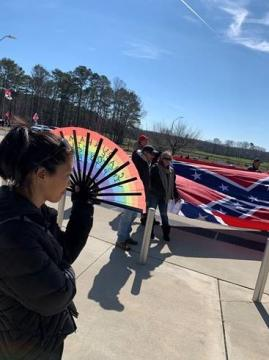 Protesters at a polling site in Chatham County
