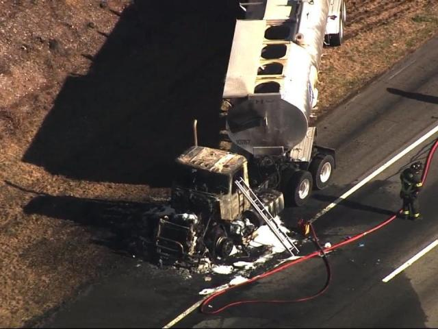 Truck catches fire on US-1 in New Hill area