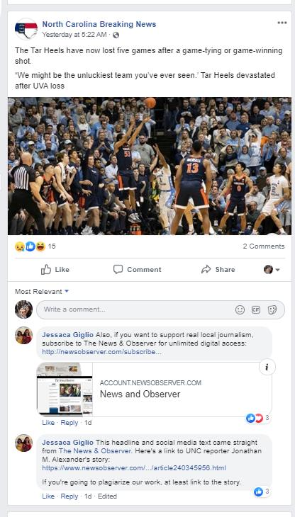 An editor at the News & Observer complains about the North Carolina Breaking News stealing N&O content.<br/>Reporter: Andy Specht