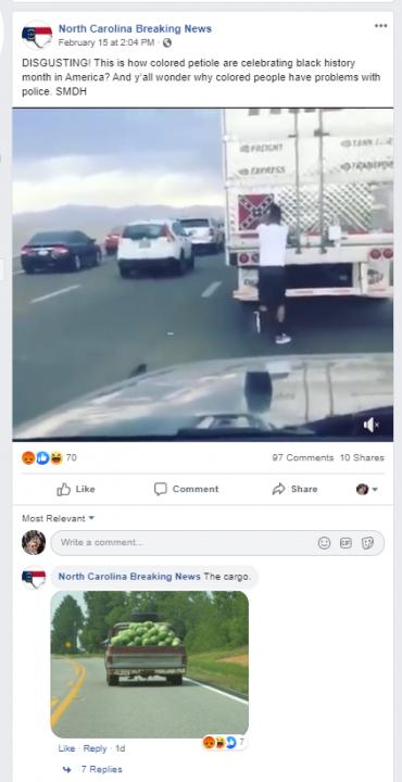 """This North Carolina Breaking News post from Feb. 15, 2020 says:   """"DISGUSTING! This is how colored petiole are celebrating black history month in America? And y'all wonder why colored people have problems with police. SMDH""""<br/>Reporter: Andy Specht"""