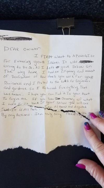 Over the weekend a salon in Dunn became a victim of burglary. However, the perpetrator had a change of heart and decided to return all of the stolen belongings and leave an apology note.