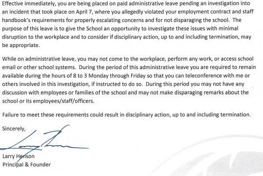 Whistleblower teacher put on administrative leave