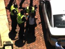 Ashley Smith, organizer of ReOpenNC arrested by Raleigh Police in downtown Raleigh